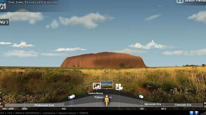 Panoramic landscapes and timeline navigation